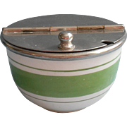 Vintage 1920s Green Striped China Sugar Bowl Nickel Flip Top Lid
