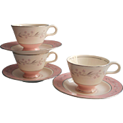 1950s Pink Melody Homer Laughlin China Cavalier Cups Saucers Vintage