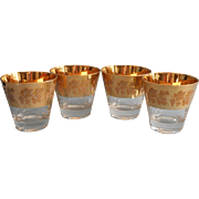 Vintage Midcentury Gold Old Fashioned Bar Glasses Cocktail Grapes Leaves
