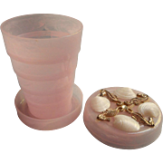 Vintage Collapsible Purse Cup Pillbox Pink Plastic Tuckaway Shells Sea Horses