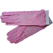 Vintage Gloves Crocheted Lace Pink Never Worn