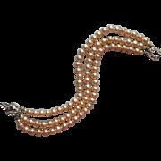 Vintage Glass Faux Pearls Bracelet 3 Strand Rhinestone Clasp TLC