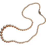 Vintage Glass Faux Pearls Necklace Knotted With Sterling Silver Clasp