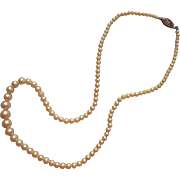 Vintage Glass Faux Pearls Beads Necklace Sterling Silver Clasp