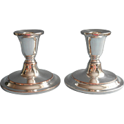 Vintage Candlesticks Pair Low Silver Plated On Copper Burche Simple Handsome