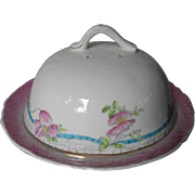 Muffin Dome Dish Antique China Pink Turquoise White Ribbons Flowers