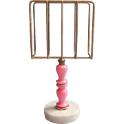 1960s Guest Towel Holder Powder Room Hot Pink Plastic Marble Brass