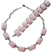 Vintage Pink Thermoset Lucite Necklace Bracelet Set Chunky Plaques Summer Fun