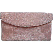 Vintage Glass Bead Clutch Purse Sugar Pink Walborg Iridescent Beaded Japan