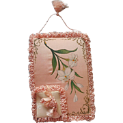 Antique Hand Painted Pink Satin Case Cards Postcards Lilies Embroidery