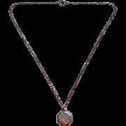 Antique Child's Necklace Pendant Faux Locket Silver 13.25 Inch Chain