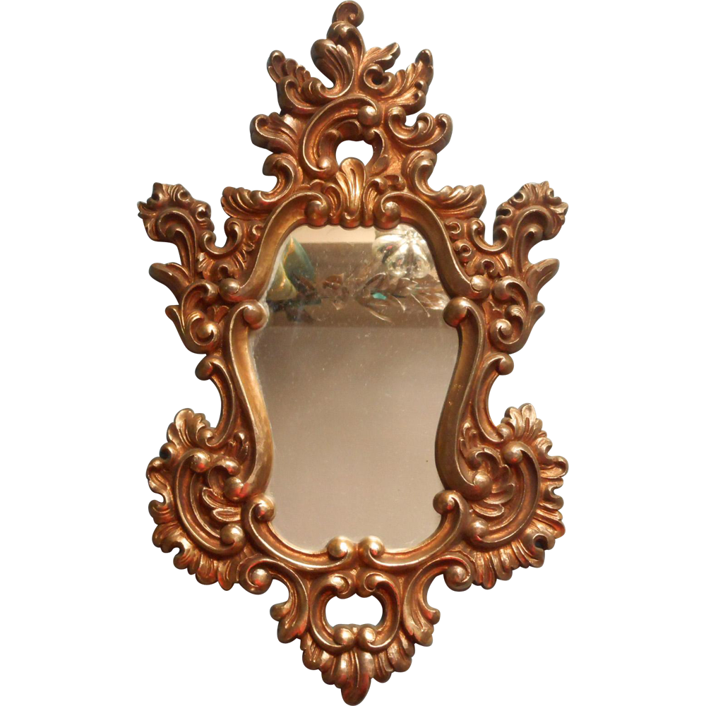 Vintage Syroco Gold Rococco Ornate Mirror 1966 Hollywood