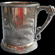 Antique Mug Silver Plated Figural Head Ferns Engraving