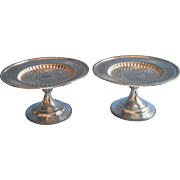 Antique Gorham Pair Reticulated Silver Pedestal Compotes Monogram A H J