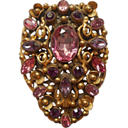 Very Vintage Pink Purple Glass Stones Filigree Brooch Made from Large Dress Clip