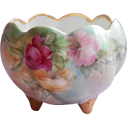 Antique Rose Bowl Hand Painted China Roses Three Toe