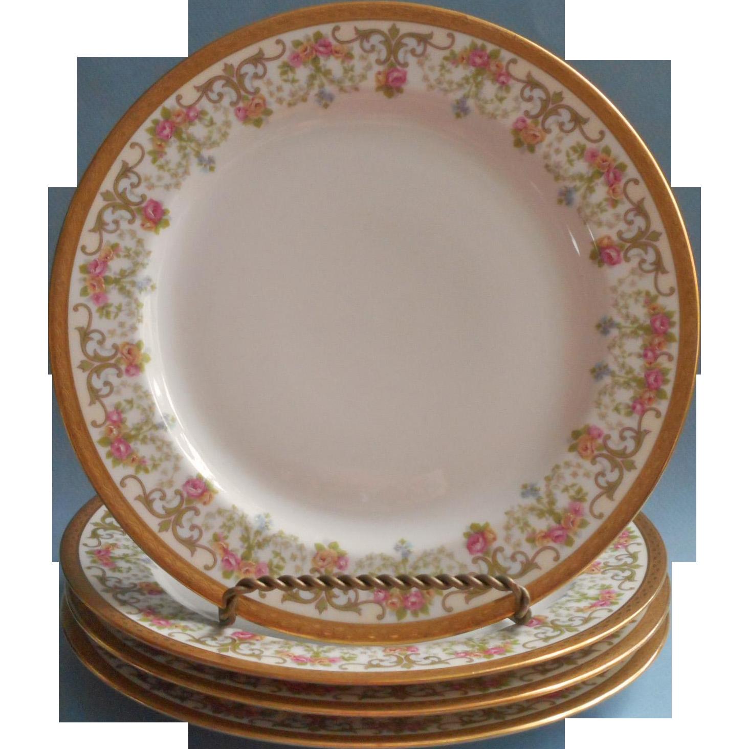 Limoges Plates Jean Pouyat For Wanamaker Antique 4 Roses