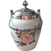 Victorian Biscuit Jar Hand Painted Glass Roses Silver Van Bergh Antique