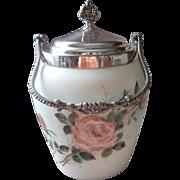 Victorian Biscuit Jar Hand Painted Glass Roses Silver Van Bergh Antique