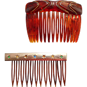 Vintage 1970s Hair Side Combs Plastic Metal