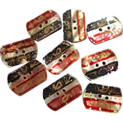 Victorian Buttons Mother Of Pearl Hand Painted Paisley Colors Motifs