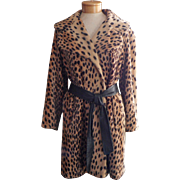 Vintage Faux Leopard Faux Fur Coast Stroller Tie Belt Wide Shawl Collar
