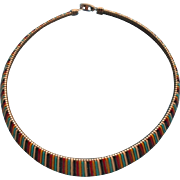 Vintage Enameled Flat Spring Style Necklace Striped