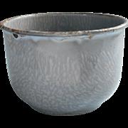 Antique Graniteware Small Deep Bowl Gray Enamel