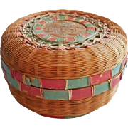 1910s to 1930s Chinese Sewing Basket Vintage Reed Split Bamboo Red Green