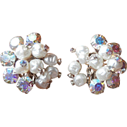 Wired Vintage AB Rhinestone Tipped Baroque Faux Pearl Earrings Crystal