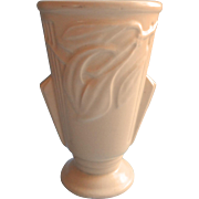 Vintage USA Pottery Vase Cream Color Art Deco Form Tall