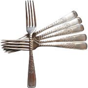 Assyrian 1887 Victorian Forks Handsome Antique Silver Plated 6