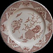 1879 Furnival Formosa Brown Transferware China Plate Antique Japonisme