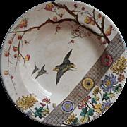 Emery Rangoon Brown Transferware China Bowl Hand Painted Japonisme