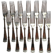 Attica 1892 Victorian Silver Forks Antique Aesthetic Set 12 Handsome