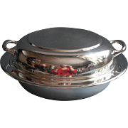 Vintage Chrome Plated Serving Dish Convertible Lid Simple Classic