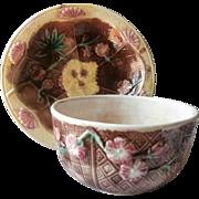 Victorian Majolica Bowl Pair Basket Weave Pink Flowers Antique Brown Yellow