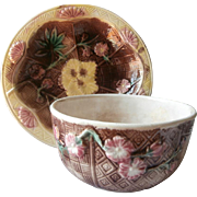Victorian Majolica Bowl Pair Basket Weave Pink Flowers Antique Brown Yellow