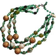 Vintage Necklace Green Beads 3 Strand Glass Plastic W. Germany