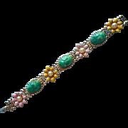 Vintage Bracelet Enamel Flowers Faux Jade Chunks Cabochons Think Spring