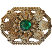 1920s 30s Brooch Pin Green Glass Stone Victorian Revival