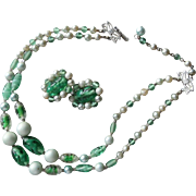 Set Vintage Glass Beads Necklace Earrings Green 1950s 2 Strand