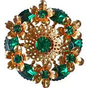 Vintage 1950s Pin Brooch Emerald Green Glass Rhinestones Filigree Flowers