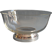 Classic Glass Silver Plated Vintage Salad or Fruit Bowl