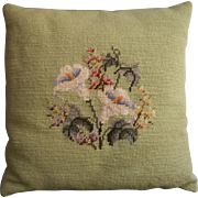 Vintage Needlepoint Pillow Calla Lilies On Soft Green Wool