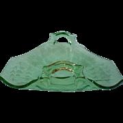 1920s 30s Glass Green Vintage Bonbon Or Lemon Dish Tea Table Cut Flowers