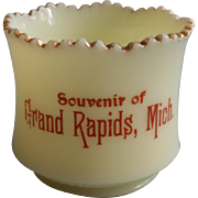 Antique Grand Rapids Souvenir Cup Custard Glass Open Sugar Bowl