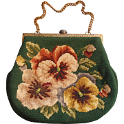Vintage Purse Needlepoint Pansies 1960s