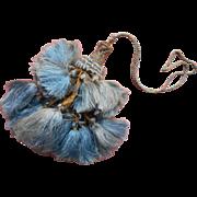 Vintage Tassel On Cord Silky Blue With Metallic Thread