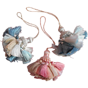 Vintage Tassels On Cord 3 Light Blue Pink
